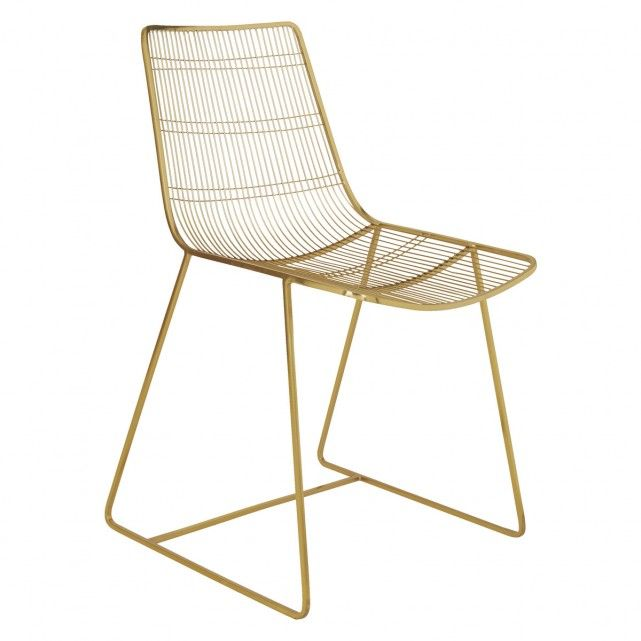 Tabitha Gold Finish Metal Wire Dining Chair Home Ideas