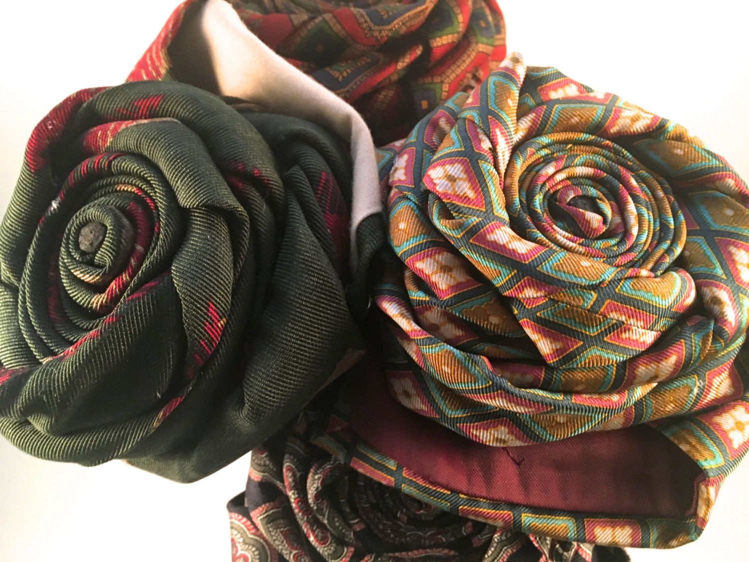 Bouquet of 7 Upcycled Necktie Flowers, Tie Flowers, Fabric Flowers, Home Decor, Father's Day Gift, Unique Wedding Bouquet, Retirement Gift by RemadeByMaria on Etsy