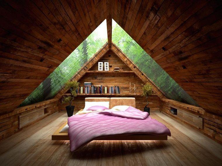 Idee mansarda camera letto legno camere in soffitta