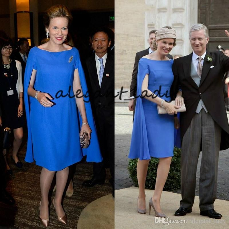 Royal Blue Knee Length Mother Of The Bride Dresses With Cape 2019