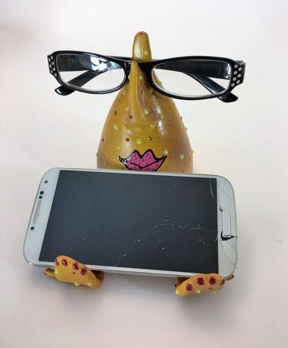 IPHONE STAND EYE GLass Holder ,Cell Phone Desk Stand,Women Gift, Ceramic  Eyeglass Nose Stand