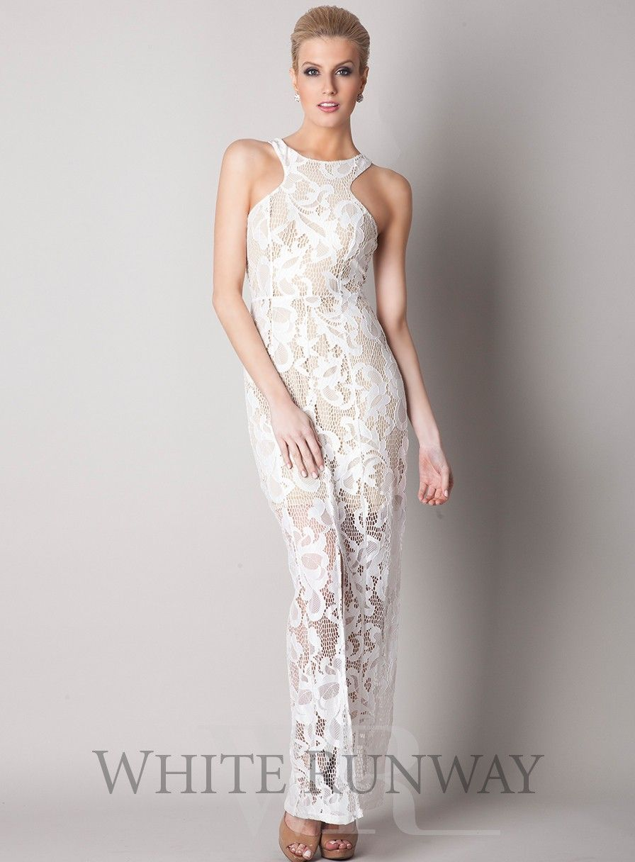 Lace Lover Maxi by Winona. A beautiful lace maxi dress by Australian designer Winona. A high neck style with a centre front and back split and short nude lining. Available in Black & Ivory.