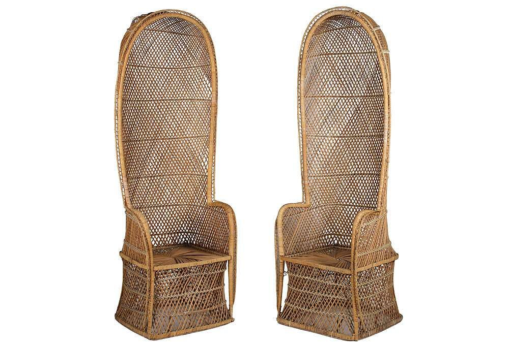 Delightful Pair Of Wicker Canopy Chairs, As Curated By Gustavo Olivieri On One Kings  Lane