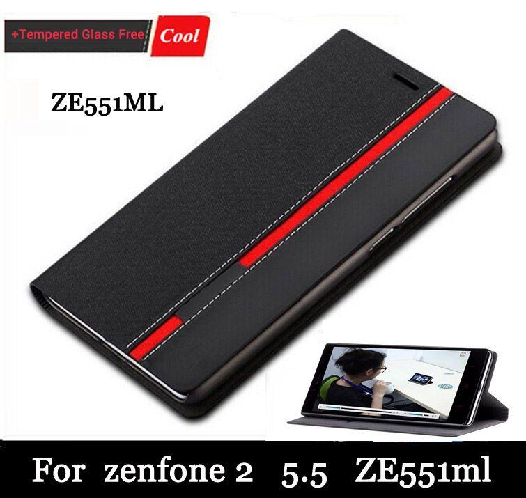 """Lederen case voor asus zenfone 2 ze550ml ze551ml (5.5 """") Flip Stand Cover Gevallen voor Zenfone2 Houder Telefoon + Screen gift Gratis"""