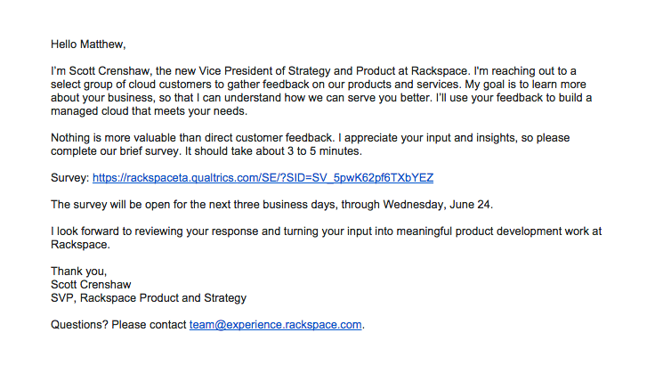 rackspace sent this email with the subject line: How can we