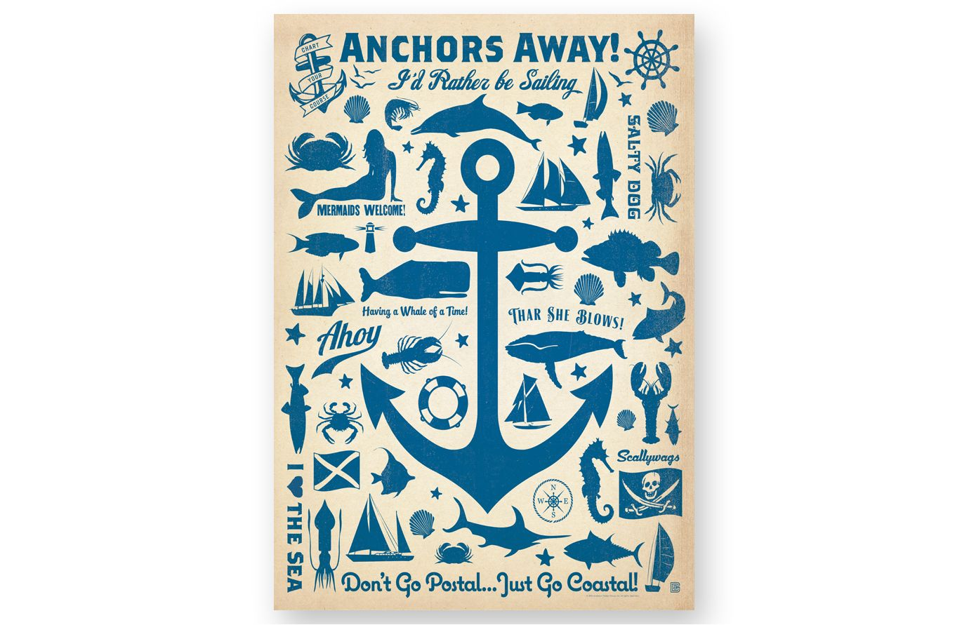 Anchors Away Anchor Canvas Gallery Wrap Canvas Retro Poster