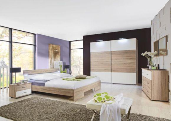 Trendiges Komplett-Schlafzimmer in Eiche-sägerauh-Nachbildung und - komplett schlafzimmer mit matratze und lattenrost