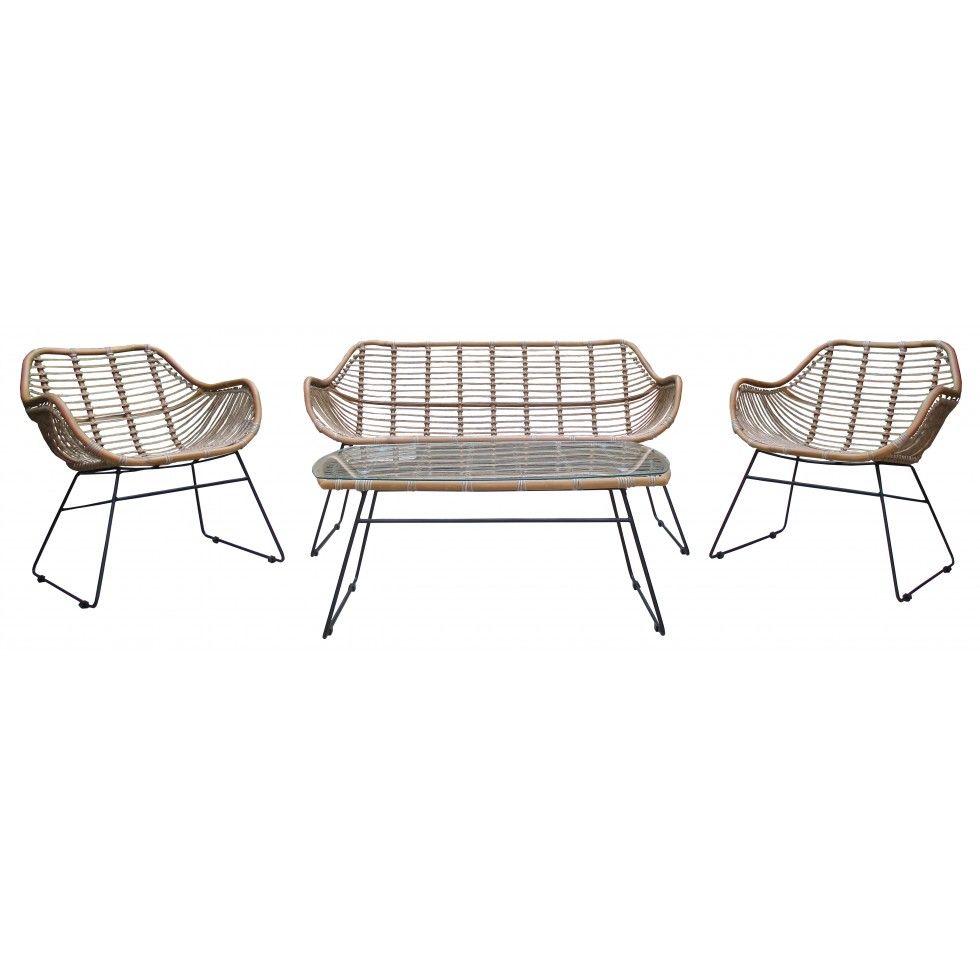Birka konstrotting lounge set med soffa, två fåtöljer och soffbord ...