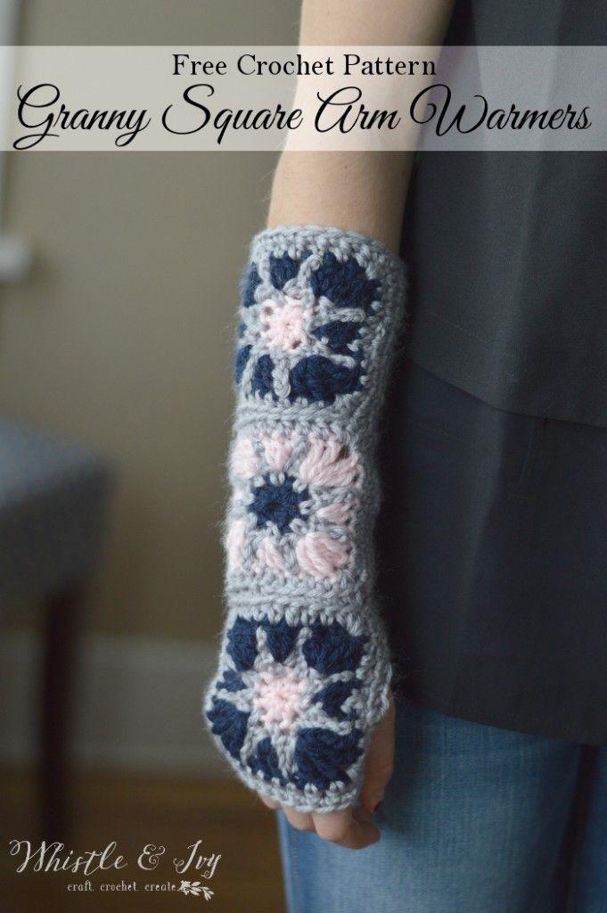 Starburst Granny Square Arm Warmers Crochet Patterns Pinterest