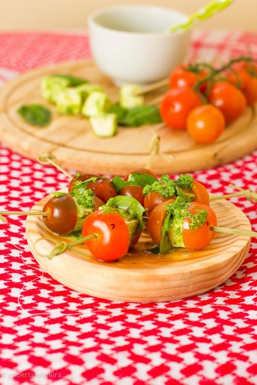Caprese skewers with Basil Pesto