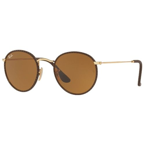 93ef901d3f9 Ray-Ban RB3475Q 9041 Round Craft Brown Leather Gold Frame Brown Classic  B-15 Lens Sunglasses