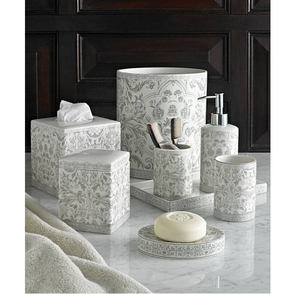 Grey/Cream Orsay Boho Floral Porcelain Bathroom Accessories Set ...