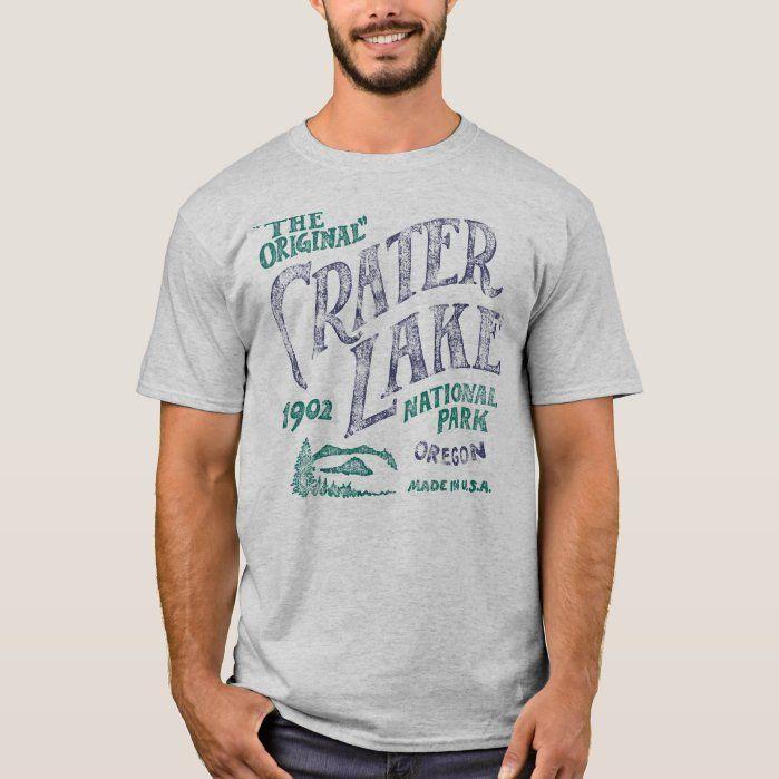Crater Lake National Park Original Tee Shirt, Men's, Size: Adult L, Grey
