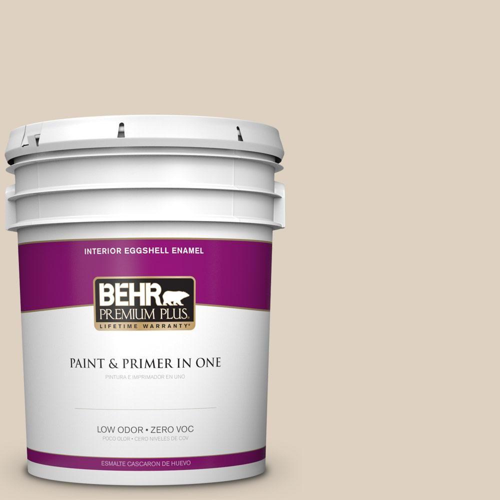 BEHR Premium Plus 5 gal. #PPU7-10 Roman Plaster Zero VOC Eggshell Enamel Interior Paint