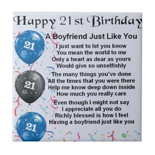 Boyfriend Poem 21st Birthday Tile Zazzle Co Uk 21st Birthday Quotes 30th Birthday Wishes 21st Birthday Wishes
