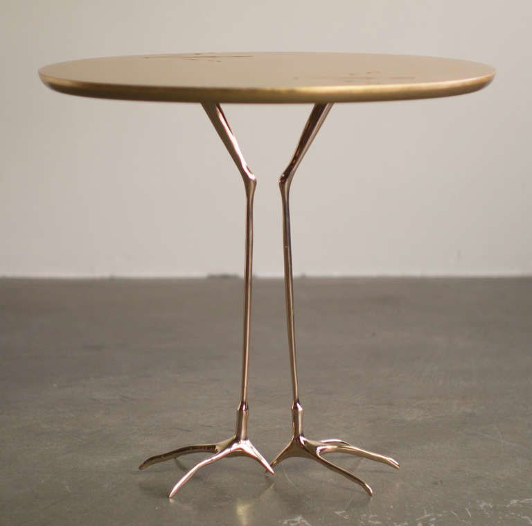 Pair Of Traccia Gold Leaf, Bird Leg Side Tables By Meret Oppenheim | From A