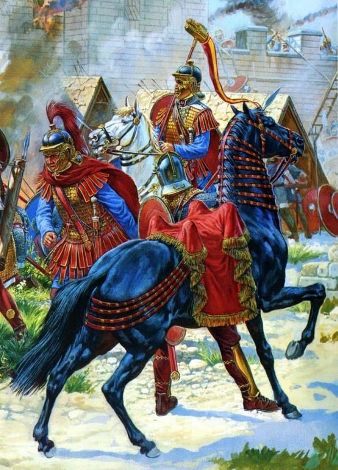 Roman cavalry troopers (officer & draco standard bearer) - 3rd century CE.