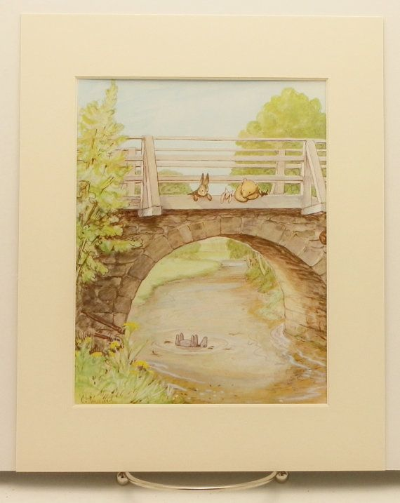 Eeyore Floats Print w/Mat, Vintage & Classic Winnie the Pooh ...