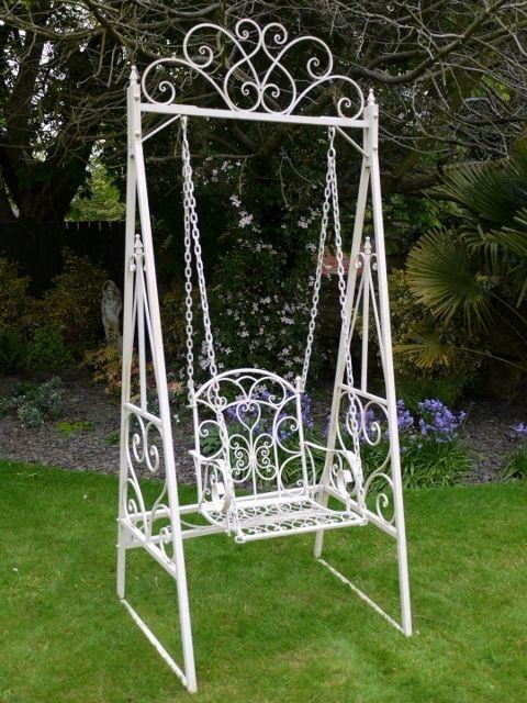 Superbe Ornate Cream Metal Garden Swing Single Seat