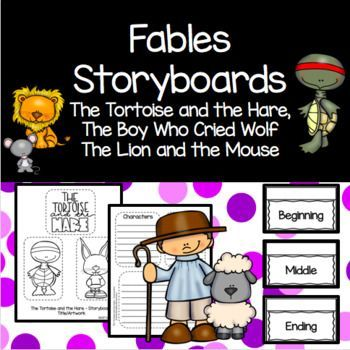 Fables Lapbook Storyboards Lion Mouse Tortoise Hare Boy Cried