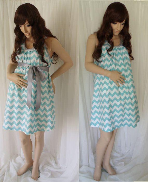 Aqua Blue Chevron Maternity Hospital Gown, delivery nursing gown ...