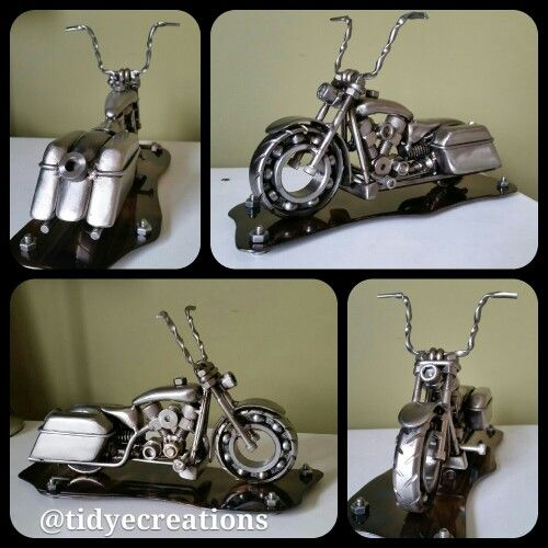 Scrap metal art welded harley Davidson bagger sculpture made by @tidyecreations on instagram see more items at tinyurl.com/tidyecreations