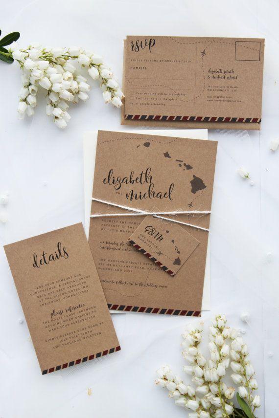 Destination Rustic Wedding Invitation Sets Premium Kraft Cardboard