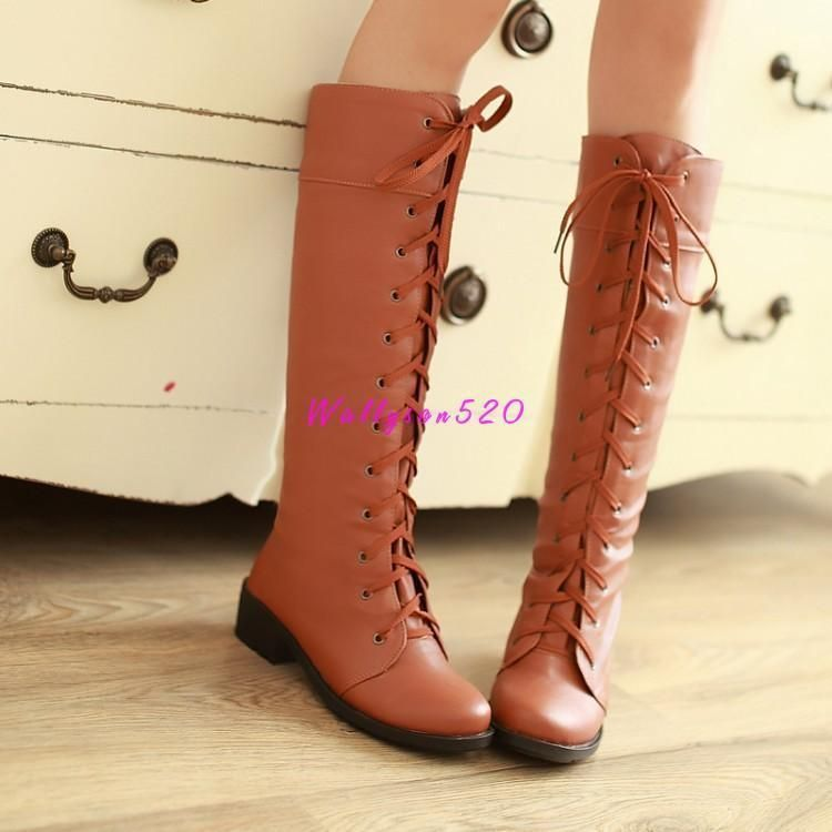 9db8e622c75 Fashion Women Lace Up Knee Length Faux Leather Cosplay Low Heel Boots Shoes