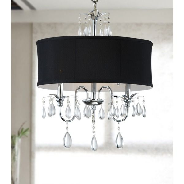 Chrome 3 light black shade crystal chandelier chandeliers chrome 3 light black shade crystal chandelier aloadofball Image collections