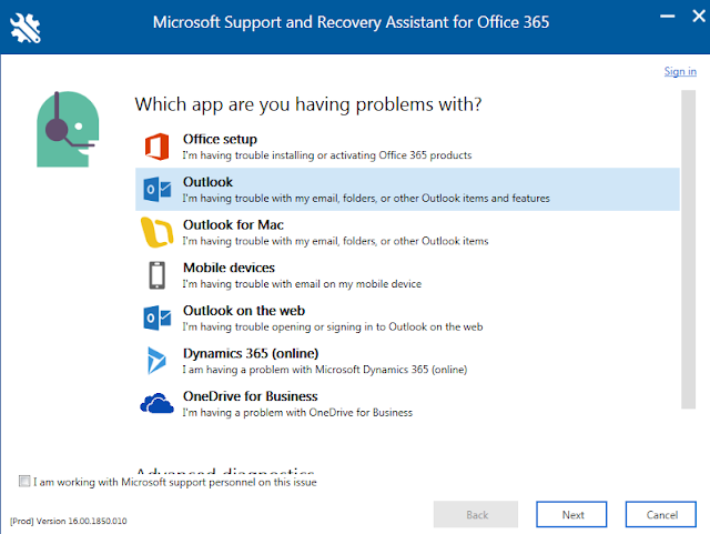 Microsoft Support and Recovery Assistant for Office 365