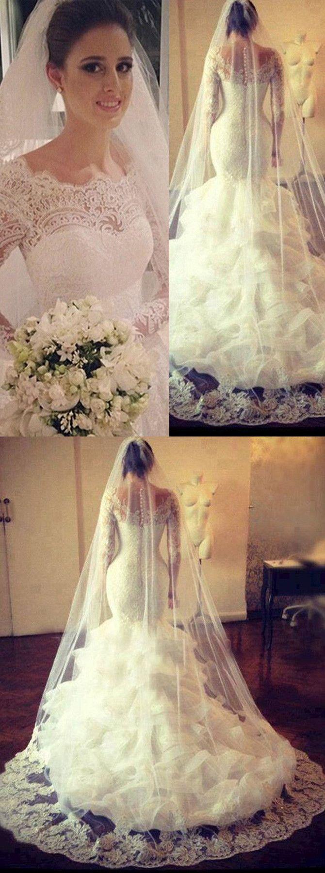 Long sleeve lace wedding dress mermaid  Honorable ScallopedEdge Sweep Train Long Sleeves Mermaid Wedding