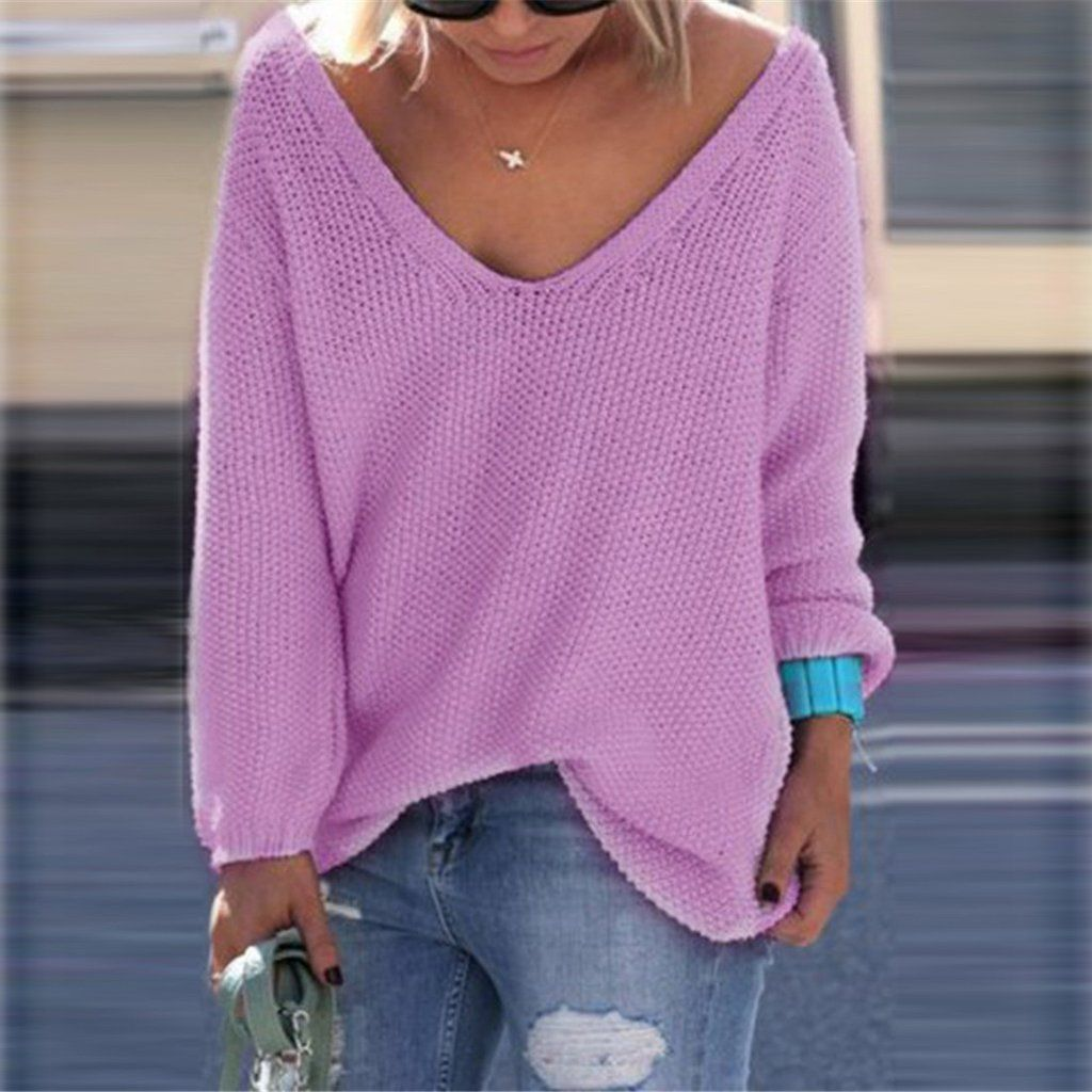 V-neck Loose Knit Pure Color Pullover Sweater | Sweaters ...
