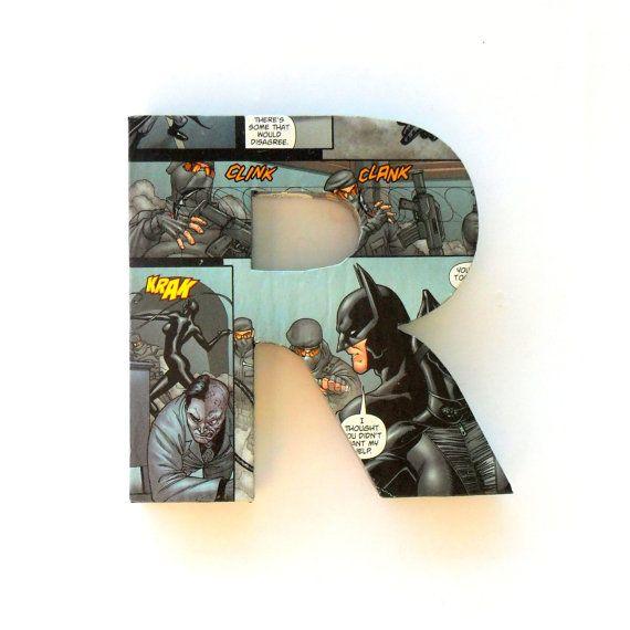 Batman Comic Book Door Sign Mounted Lettering by RoseberryStore, $12.00