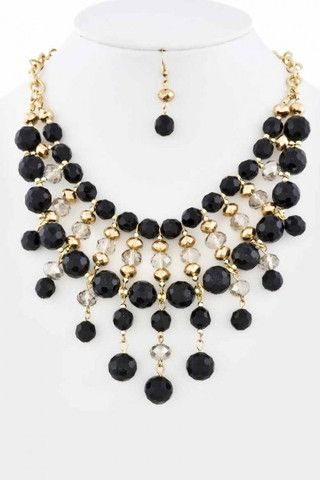 a2b649a650e8 Beaded Dangle Statement Necklace Set - First   Chic - Online Boutique for  Women Collar Blanco