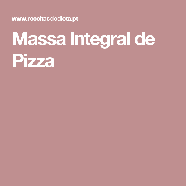 Massa Integral de Pizza
