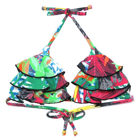 Toucans Frill Top  Brazilian Bikini Swimsuit by MyBrazilianShoes