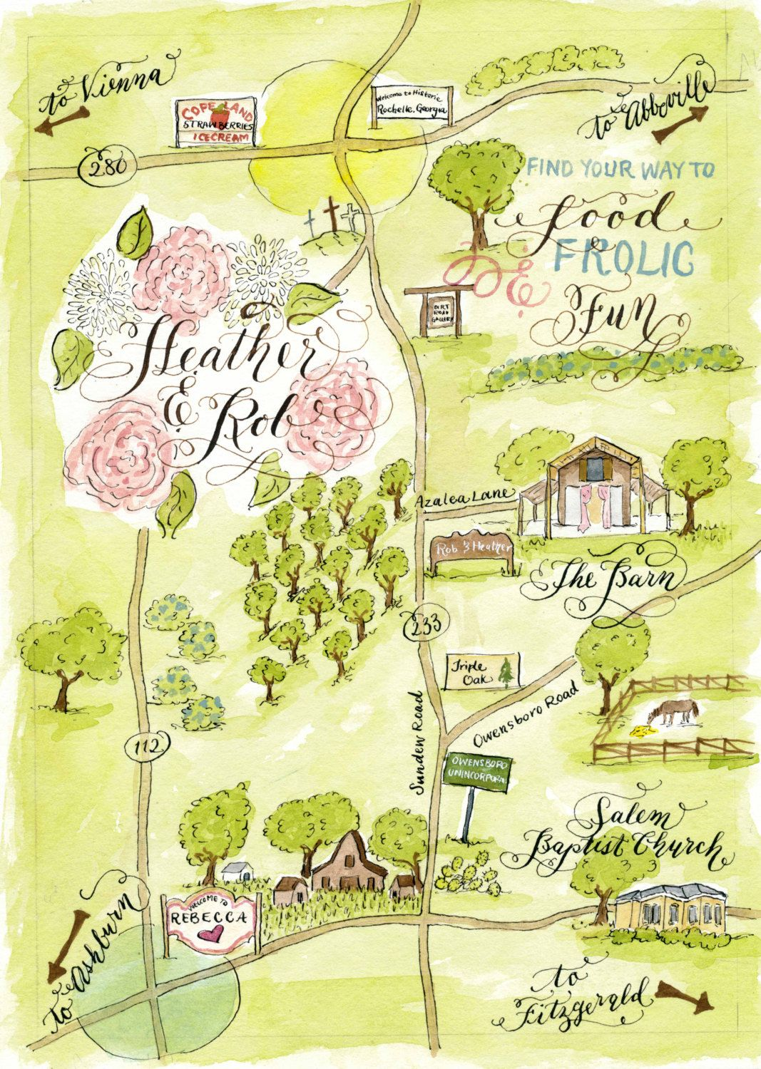 Watercolor Wedding Map Diy Print At Home Or Order Prints