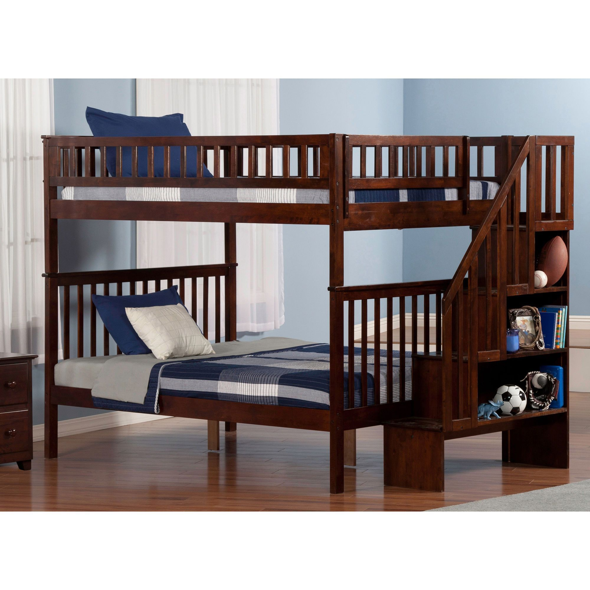 atlantic woodland staircase bunk bed full over full in walnut color