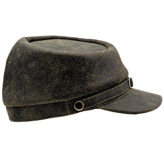 Civil War distressed leather black cap by HatterShop 7b19625b022