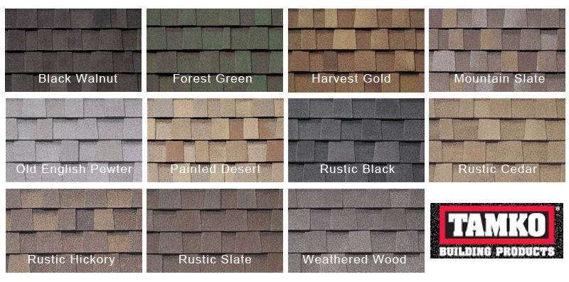 Tamko And Gaf Architectural Shingles Above All Roofing And Repairs Tamko Shingles Shingle Colors Roof Shingles
