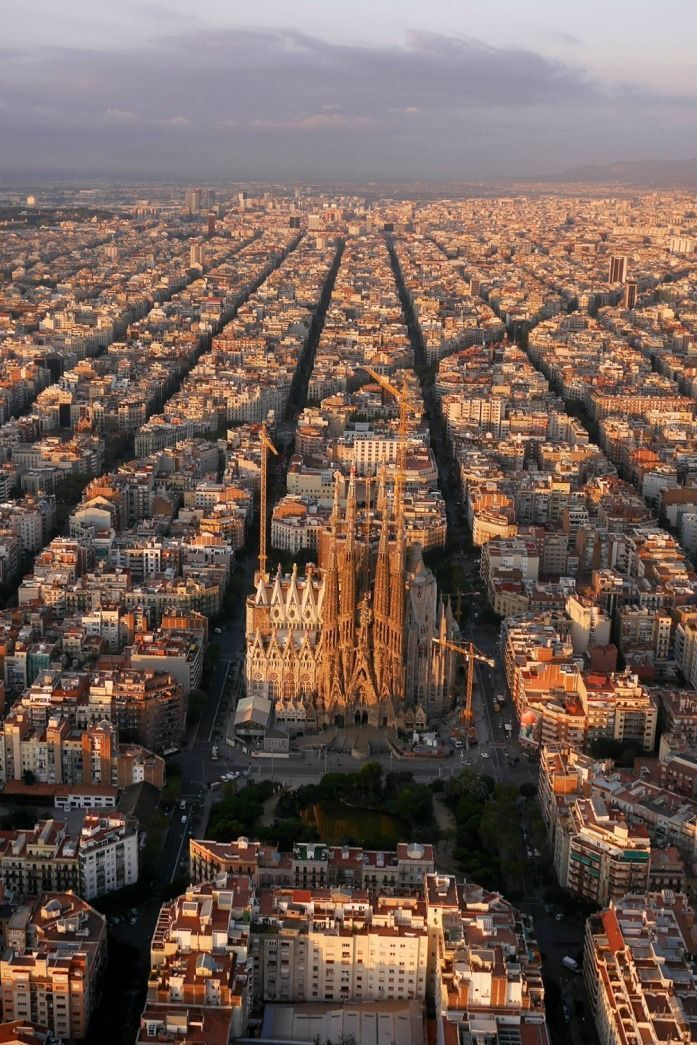 An aerial view of Barcelona, Spain. The The Eixample district has octagonal city blocks, designed to allow light and space on the street corners.