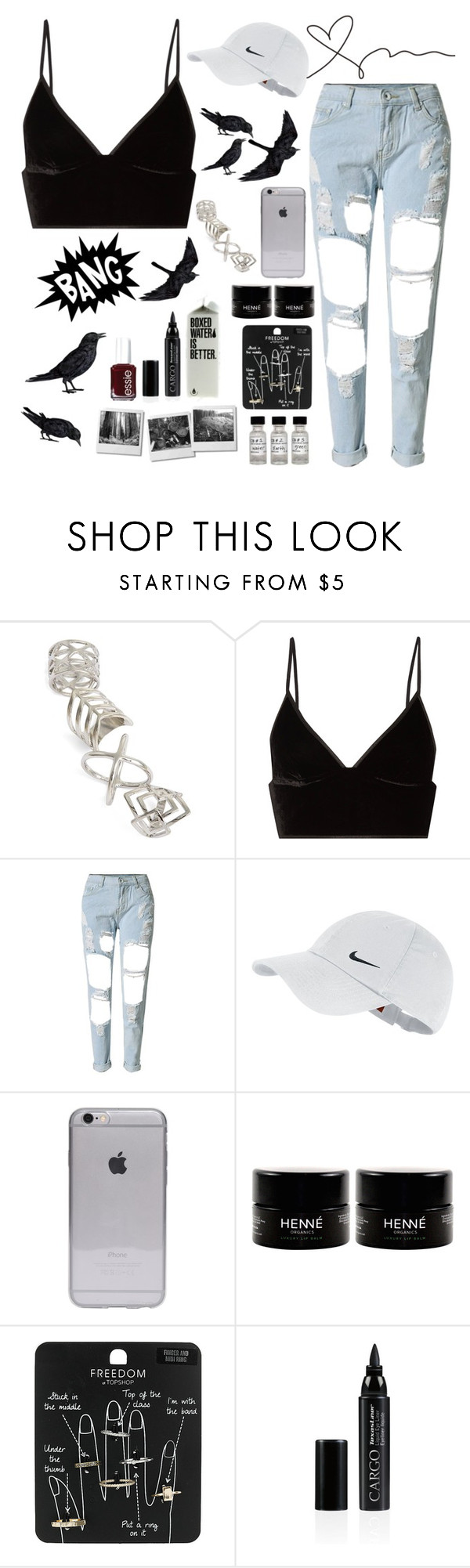 """""""🍚❤️."""" by parkmona ❤ liked on Polyvore featuring Topshop, T By Alexander Wang, NIKE, CARGO and Essie"""