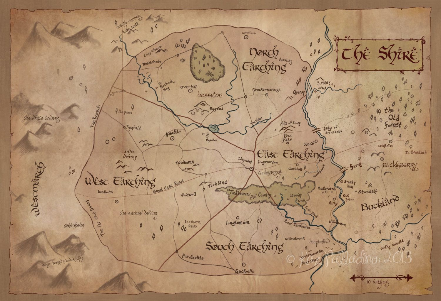Map of the Shire Illustrated Map