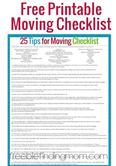 graphic regarding Stay Organized With a Printable Moving Checklist called 25 Guidelines for Going Effectively and With Sanity + Cost-free
