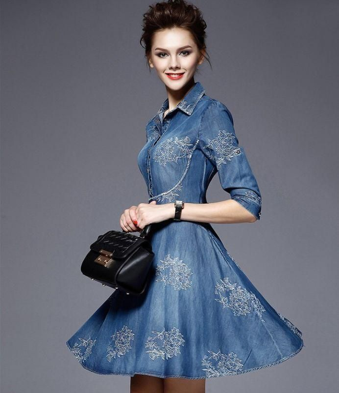 ae826736ea1 Embroidery Women Slim Fit Denim Jean Dress Long Sleeve Shirt Dress Sz S-5Xl  R627