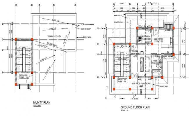 Ground Floor And Roof House Plan Detail Dwg File House Roof Ground Floor House Plans
