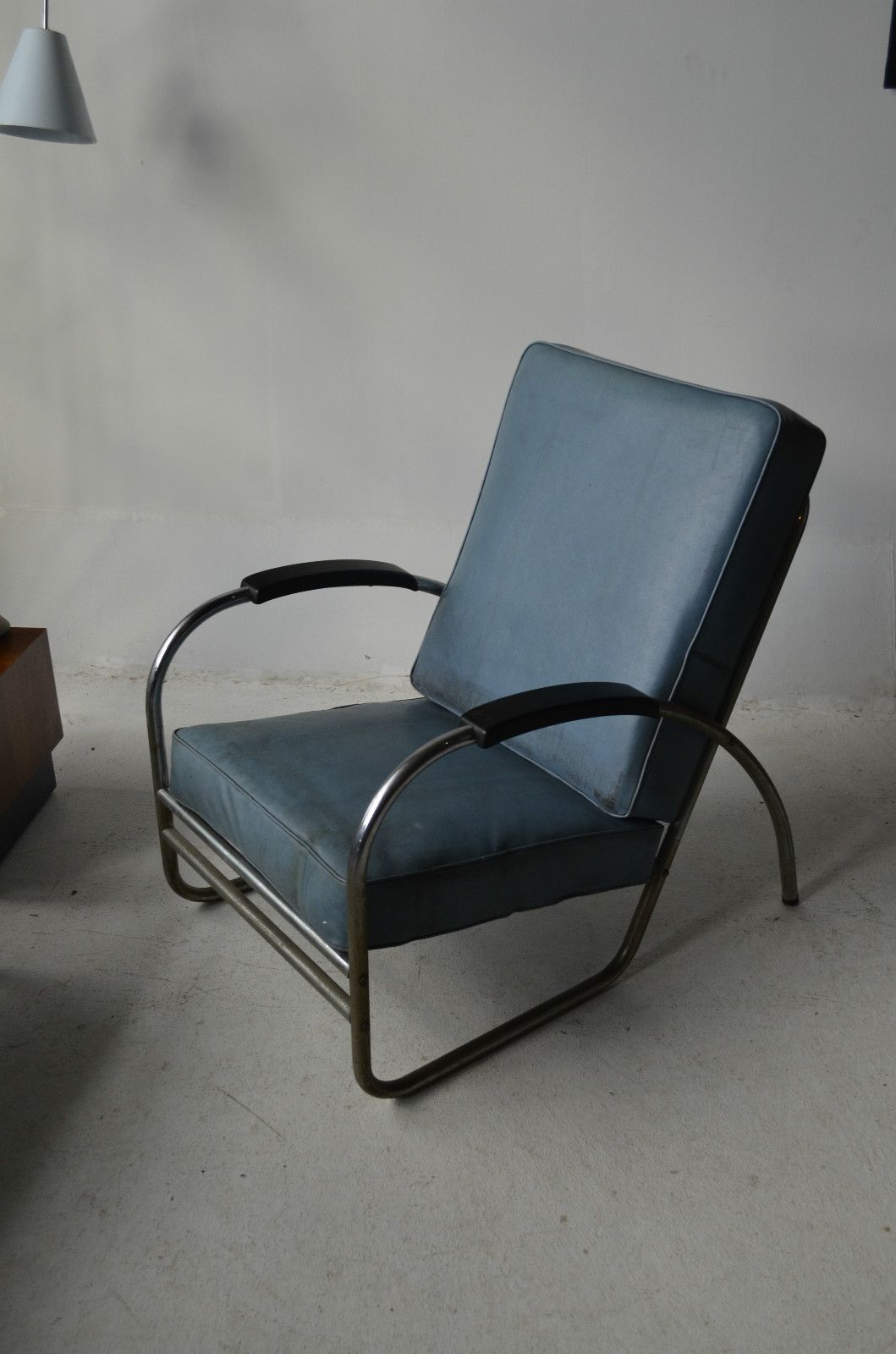 Industrial Machine Age Mid Century Modern Chrome Chair By