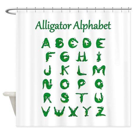 Alligator Alphabet Shower Curtain By Gift Nook Shower Curtain