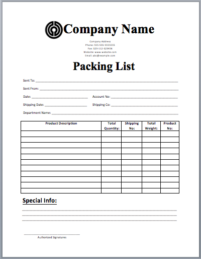 Packing List Template  Packing List Sample