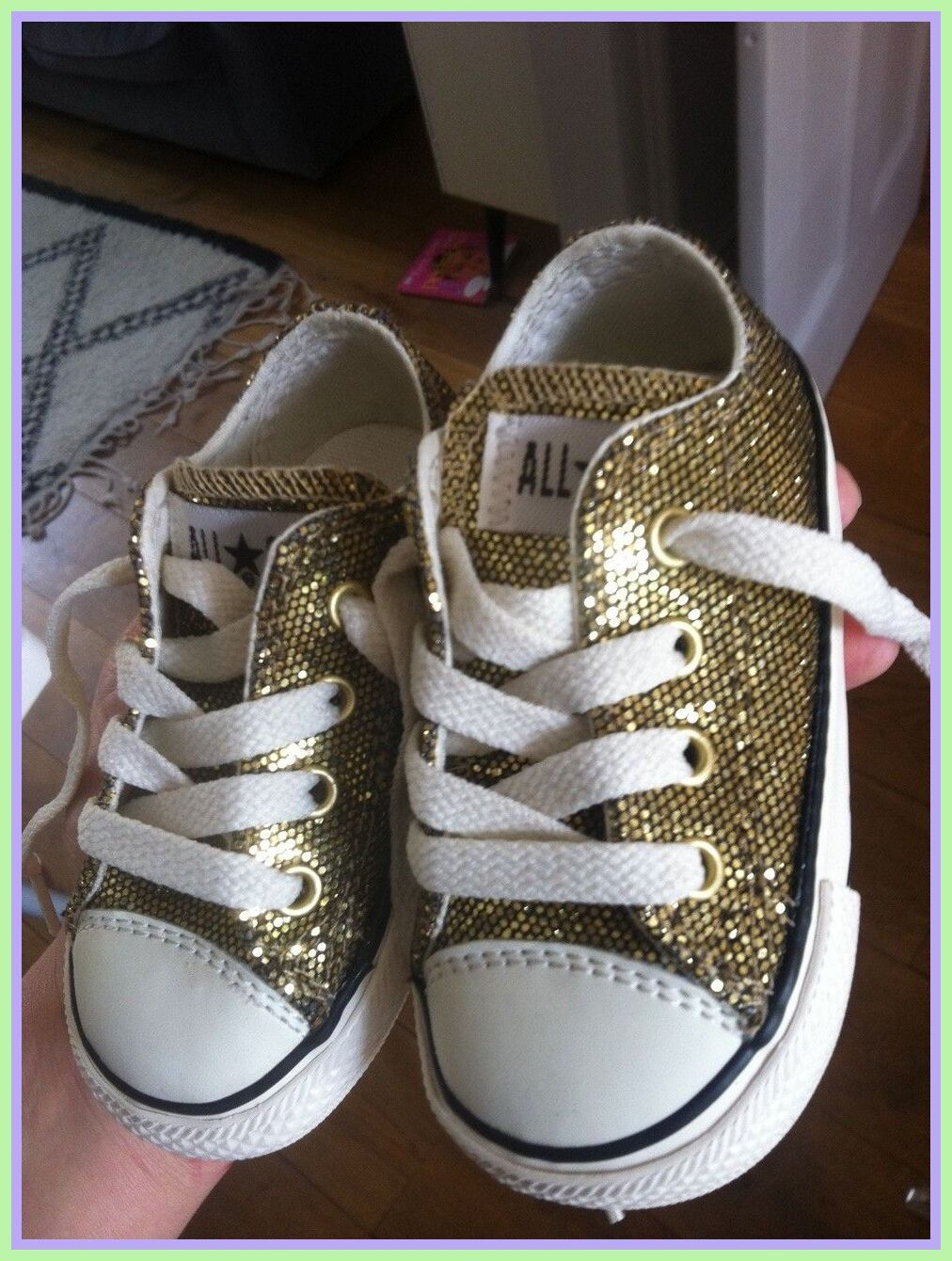 Gold baby shoes, Baby girl converse